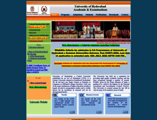acad.uohyd.ac.in screenshot