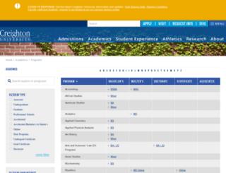 academics.creighton.edu screenshot
