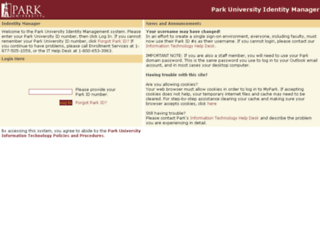accounts.park.edu screenshot