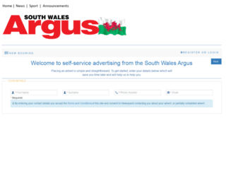 adbooker.southwalesargus.co.uk screenshot