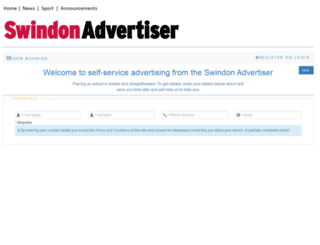 adbooker.swindonadvertiser.co.uk screenshot