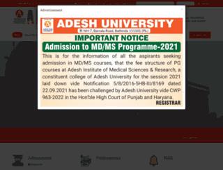 adeshuniversity.ac.in screenshot