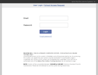 admin.alphaplustesting.org screenshot