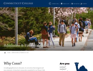 admission.conncoll.edu screenshot