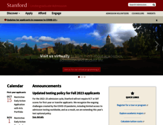 admission.stanford.edu screenshot