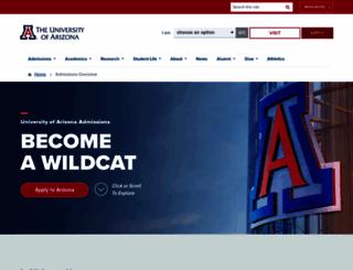admissions.arizona.edu screenshot