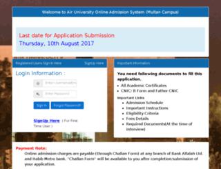 admissions.aumc.edu.pk screenshot
