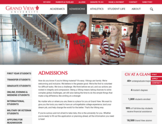 admissions.grandview.edu screenshot