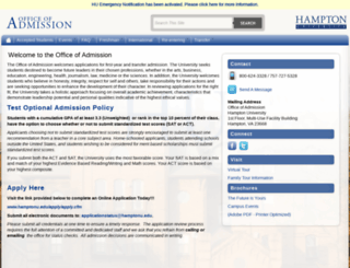 admissions.hamptonu.edu screenshot
