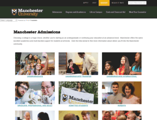 admissions.manchester.edu screenshot