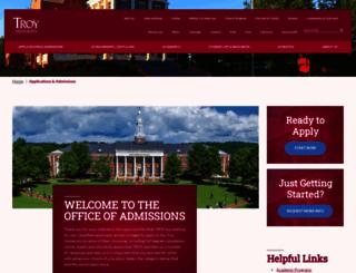 admissions.troy.edu screenshot