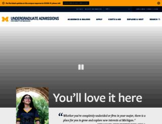 admissions.umich.edu screenshot