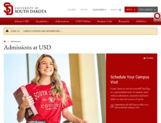 admissions.usd.edu screenshot