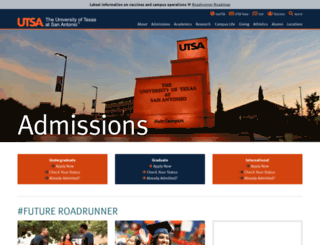 admissions.utsa.edu screenshot