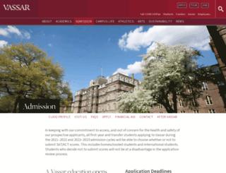 admissions.vassar.edu screenshot