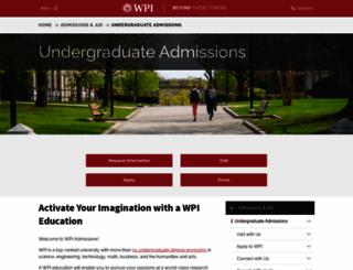 admissions.wpi.edu screenshot
