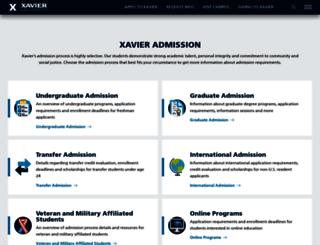 admissions.xavier.edu screenshot