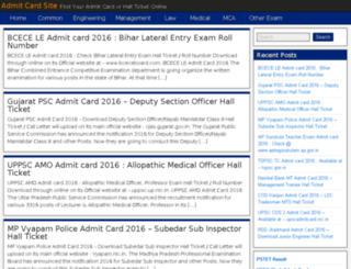 admitcardsite.in screenshot