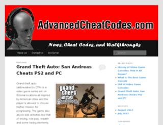 advancedcheatcodes.com screenshot