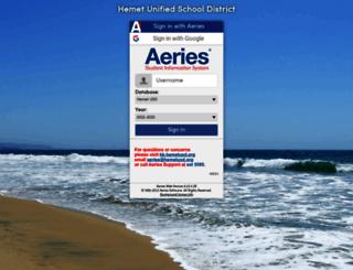 aeries.hemetusd.org screenshot