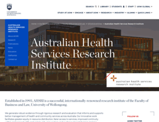 ahsri.uow.edu.au screenshot