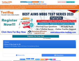 aiimsmbbs.testbag.com screenshot