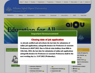 aiou.edu.pk screenshot