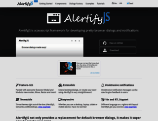 alertifyjs.com screenshot