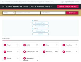 allfancynumbers.com screenshot