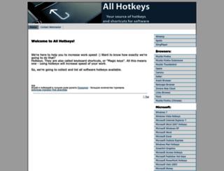 allhotkeys.com screenshot
