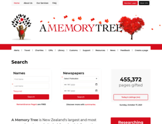 amemorytree.co.nz screenshot