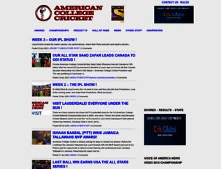 americancollegecricket.com screenshot