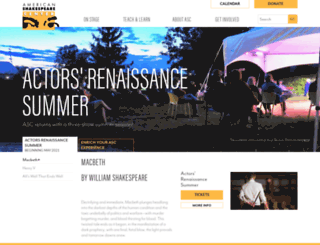 americanshakespearecenter.com screenshot