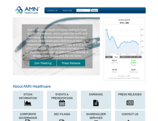 amnhealthcare.investorroom.com screenshot