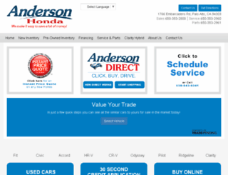 andersonhondanewcars.com screenshot