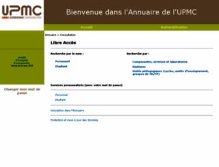 annuaire.upmc.fr screenshot