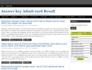 answerkey-admitcard-result.in screenshot