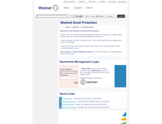 antispam.westnet.com.au screenshot