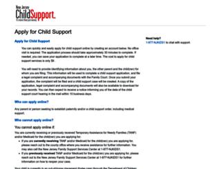 application.njchildsupport.org screenshot