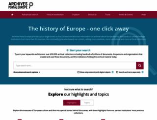 archivesportaleurope.net screenshot