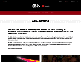 ariaawards.com.au screenshot