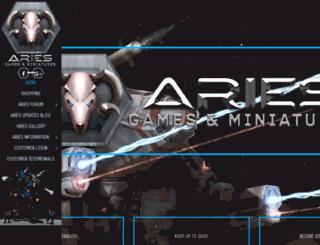 ariesgamesandminis.com screenshot
