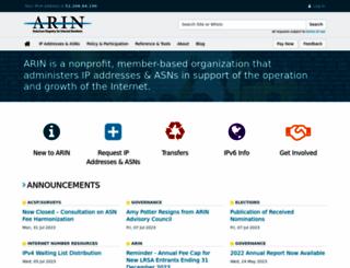 arin.net screenshot