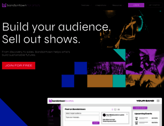 artists.bandsintown.com screenshot