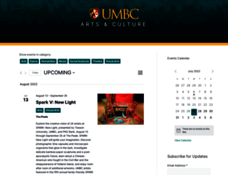 artscalendar.umbc.edu screenshot