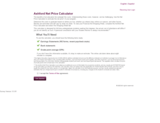 ashford.studentaidcalculator.com screenshot