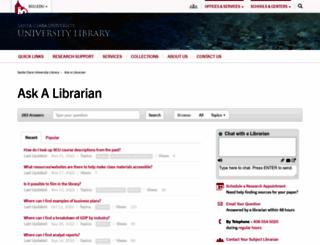 askalibrarian.scu.edu screenshot