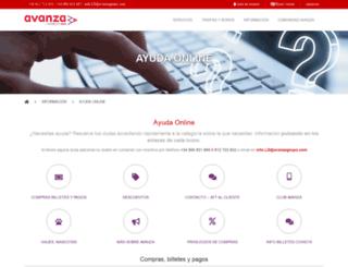 ayuda.avanzabus.com screenshot