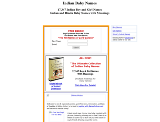 babynamesindia.com screenshot