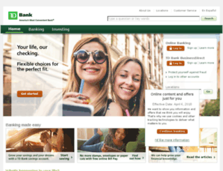 bank.tdbank.com screenshot